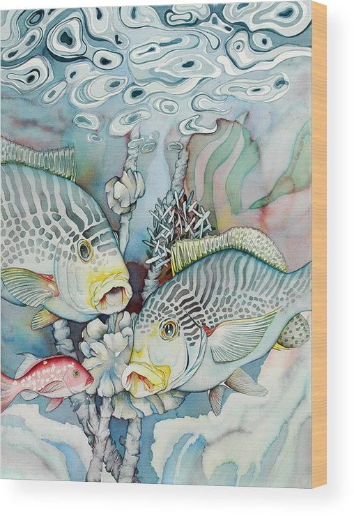 Fish Wood Print featuring the painting Rose Island III by Liduine Bekman