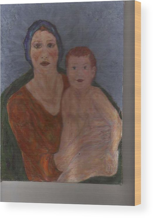 Strong Wood Print featuring the painting Russian Mother with Child by Nancy Caccioppo
