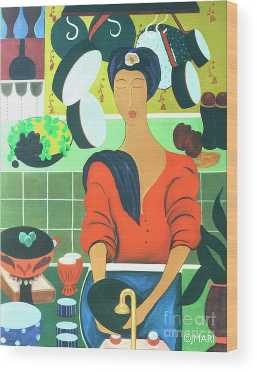 #kitchen Wood Print featuring the painting Sally by Jacquelinemari