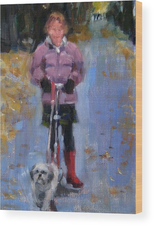 Child Wood Print featuring the painting Scooting Down the Street by Merle Keller