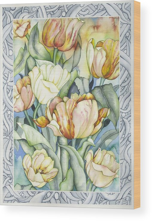 Flowers Wood Print featuring the painting Secret World III by Liduine Bekman