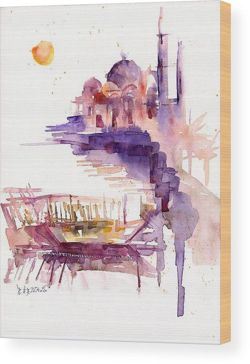 Landscape Wood Print featuring the painting Sharjah Sunset by Beena Samuel