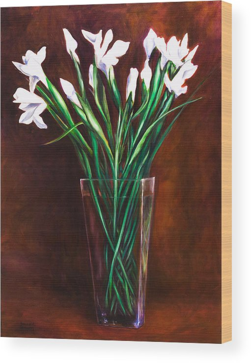 Iris Wood Print featuring the painting Simply Iris by Shannon Grissom