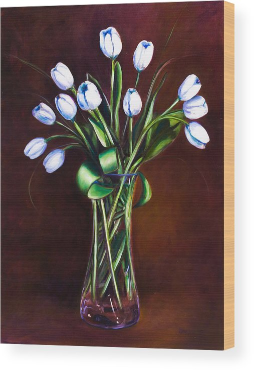 Shannon Grissom Wood Print featuring the painting Simply Tulips by Shannon Grissom