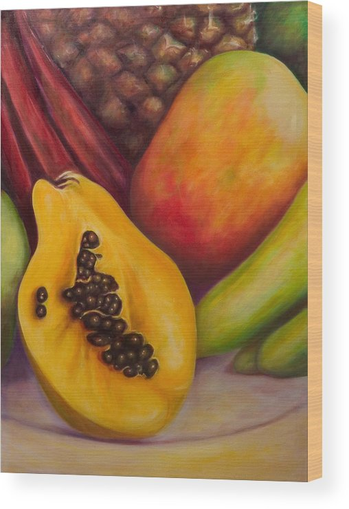 Tropical Fruit Still Life: Mangoes Wood Print featuring the painting Solo by Shannon Grissom