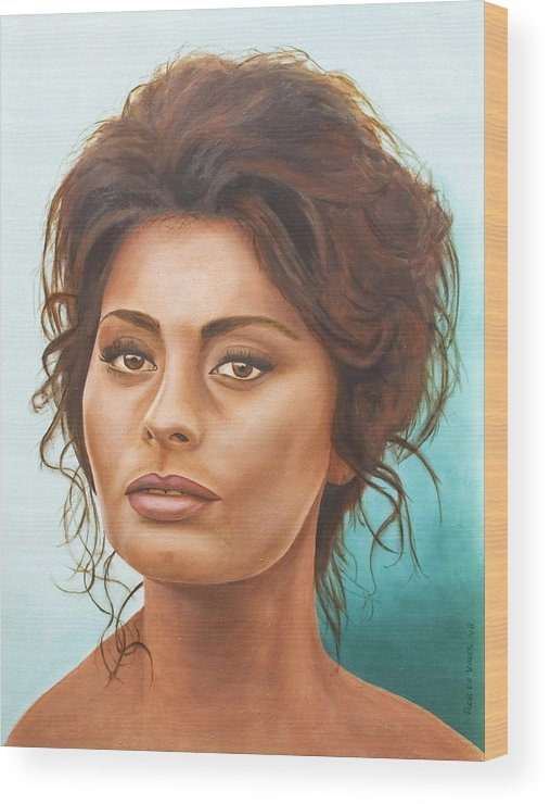 Moviestar Wood Print featuring the painting Sophia Loren by Rob De Vries