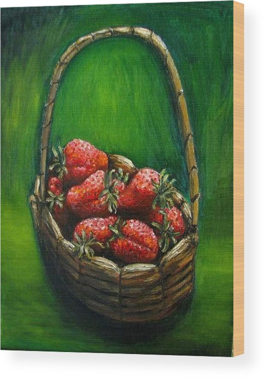 Strawberries Wood Print featuring the painting Strawberries contemporary oil painting by Natalja Picugina
