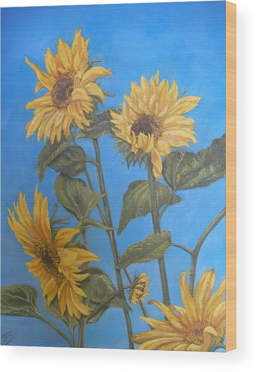 Sunflower Wood Print featuring the painting Sunflower by Travis Day