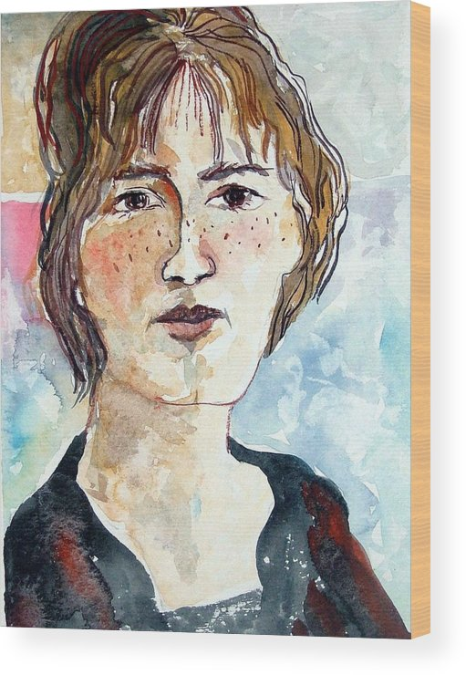 Model Wood Print featuring the painting Tenderly by Mindy Newman