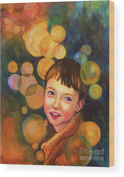 Boy Wood Print featuring the painting The Afterglow by Angelique Bowman