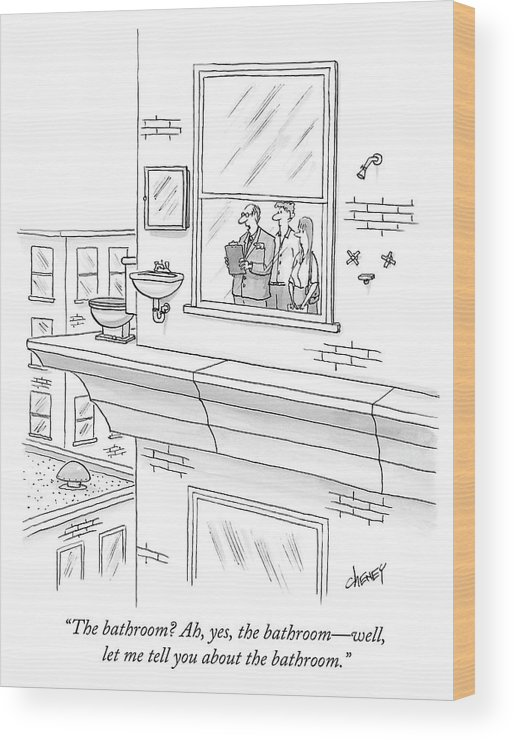 """""""the Bathroom? Ah Wood Print featuring the drawing The bathroom by Tom Cheney"""