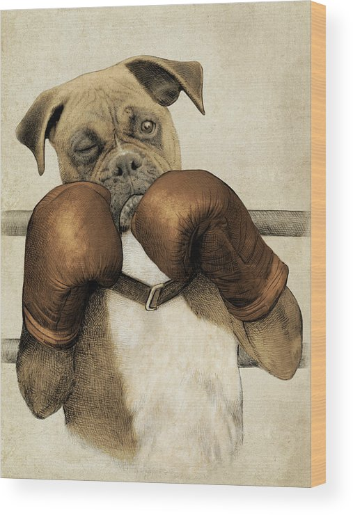 Boxer Wood Print featuring the drawing The Boxer by Eric Fan