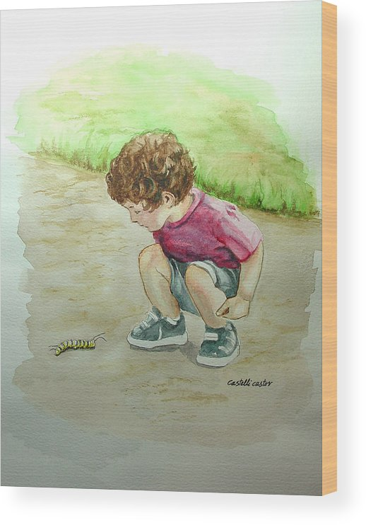 Children Wood Print featuring the painting The Caterpillar by JoAnne Castelli-Castor