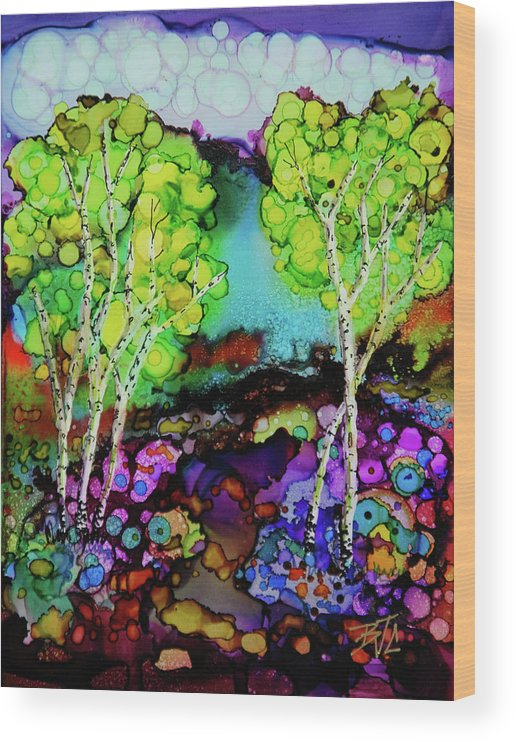 Colorful Landscape Wood Print featuring the painting The Colors of Colorado by Billie Colson