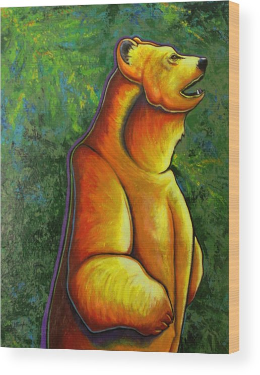 Wildlife Wood Print featuring the painting The Forest Has Eye's by Joe Triano