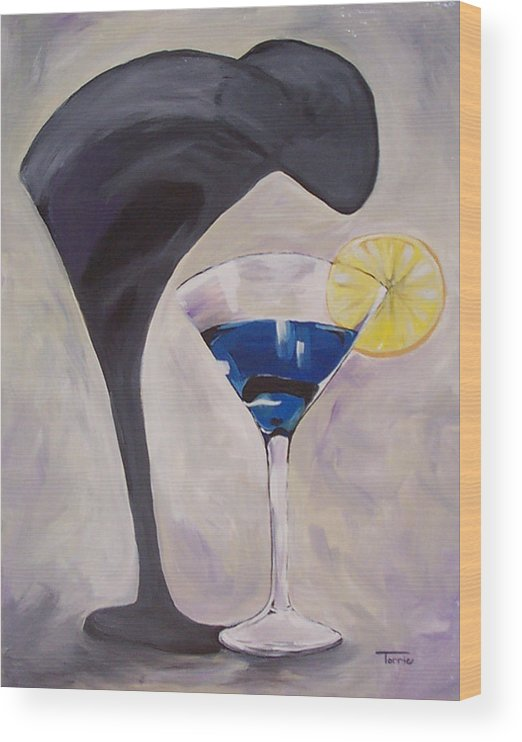 Martini Wood Print featuring the painting The Shadow - Two by Torrie Smiley