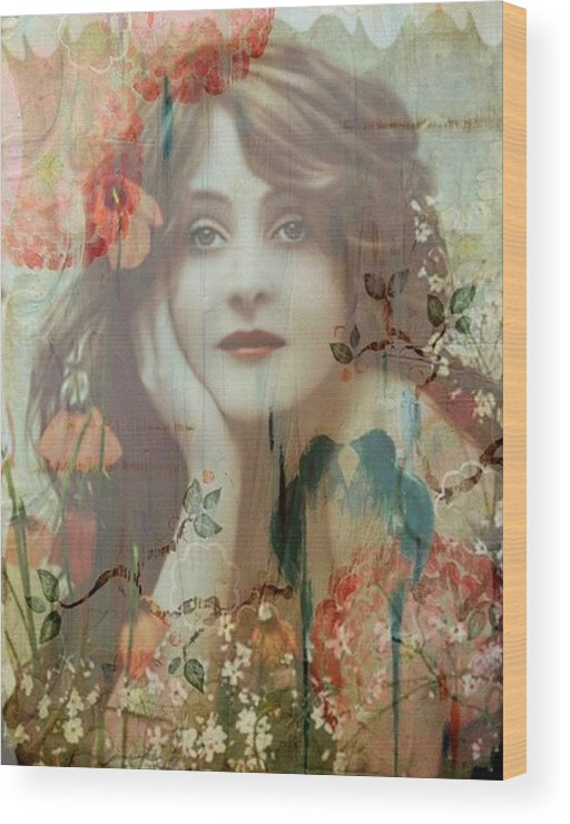 Women Wood Print featuring the painting The She by Laura Botsford