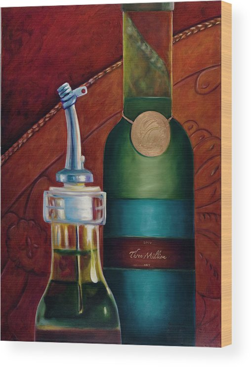 Olive Oil Wood Print featuring the painting Three Million Net by Shannon Grissom