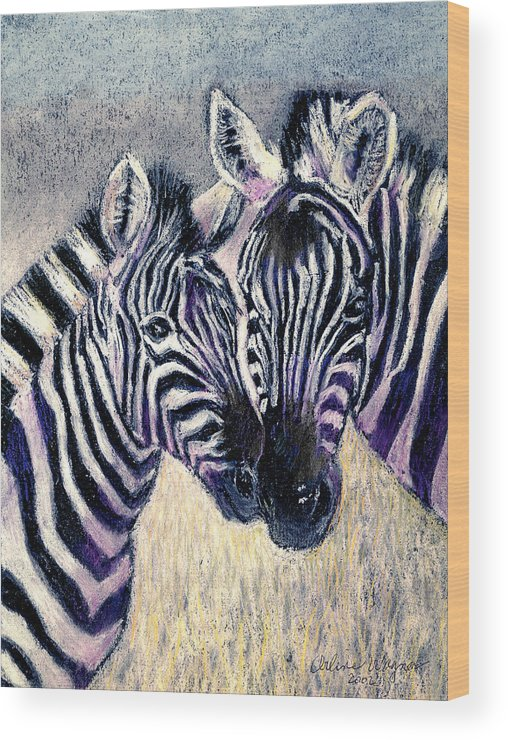 Zebras Wood Print featuring the pastel Together by Arline Wagner