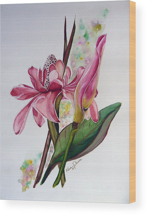 Flower Painting Floral Painting Botanical Painting Flowering Ginger. Wood Print featuring the painting Torch Ginger Lily by Karin Dawn Kelshall- Best