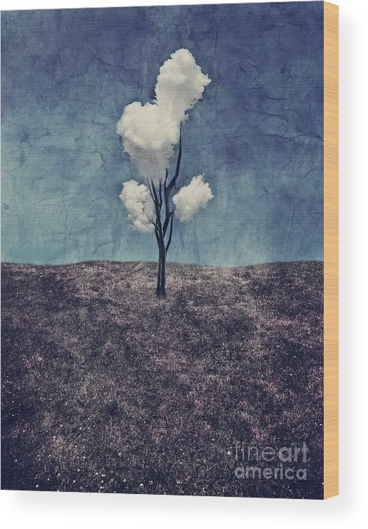 Tree Wood Print featuring the digital art Tree Clouds 01d2 by Aimelle