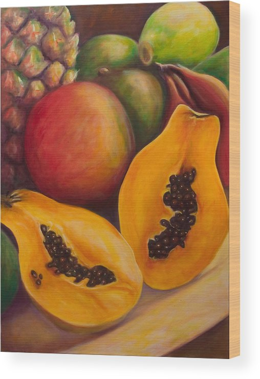 Papaya Wood Print featuring the painting Twins by Shannon Grissom
