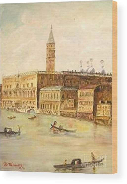 Citiscape Wood Print featuring the painting Venice From Grand Canal by Nicholas Minniti