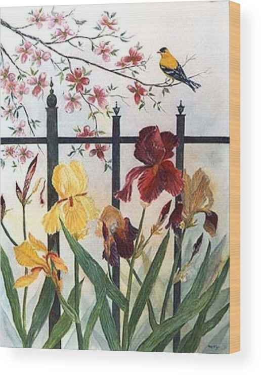 Irises; American Goldfinch; Dogwood Tree Wood Print featuring the painting Victorian Garden by Ben Kiger