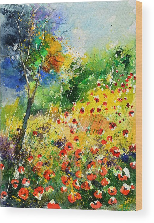 Poppies Wood Print featuring the painting Watercolor poppies 518001 by Pol Ledent