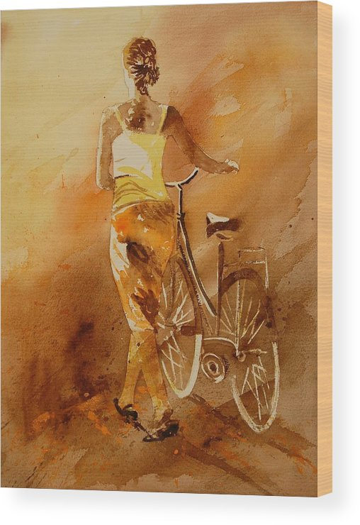 Figurative Wood Print featuring the painting Watercolor With My Bike by Pol Ledent