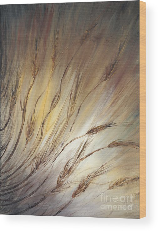 Wheat Wood Print featuring the painting Wheat in the Wind by Nadine Rippelmeyer