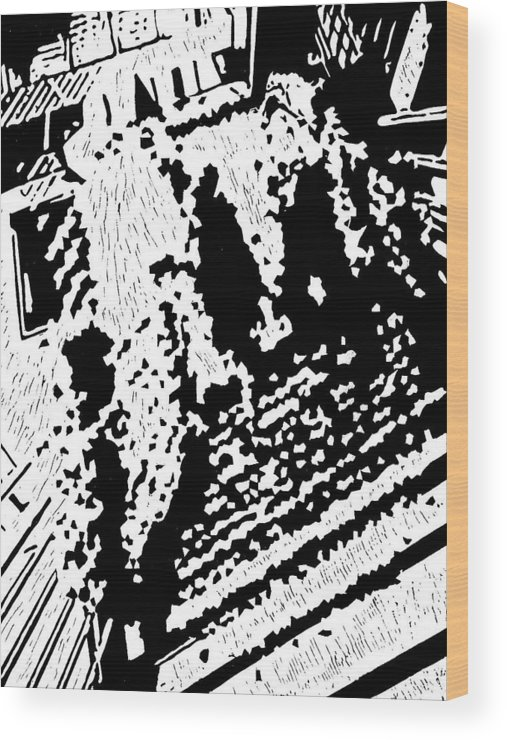 Black Wood Print featuring the painting Which Way Up -- Hand-pulled Linoleum Cut by Lynn Evenson