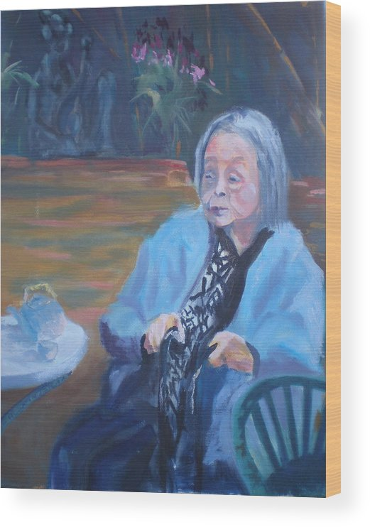 Senior Citizen Wood Print featuring the painting Wisdon In Carmel by Bryan Alexander
