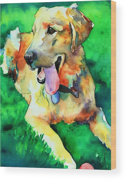 Yellow Lab Wood Print featuring the painting Yellow Labrador by Christy Freeman Stark