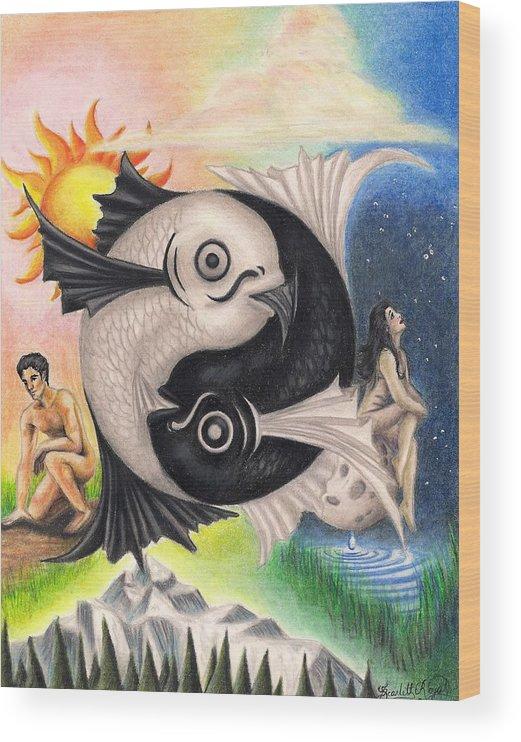 Yin-yang Wood Print featuring the drawing Yin-Yang by Scarlett Royal