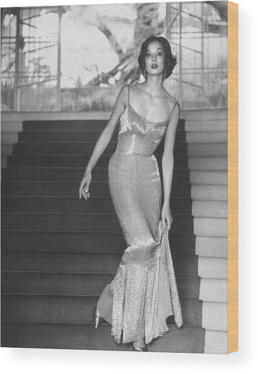Timeincown Wood Print featuring the photograph Evening Dress Designed By A California D by Gordon Parks