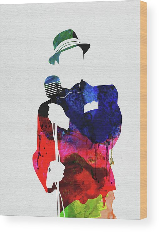 Frank Sinatra Wood Print featuring the mixed media Frank Watercolor by Naxart Studio