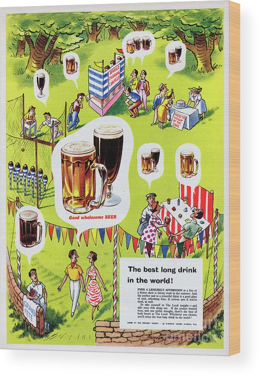 1950-1959 Wood Print featuring the photograph Good Wholesome Beer by Picture Post