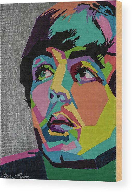 Paul Mccartney Wood Print featuring the painting Sir Paul McCartney by Stacie Marie