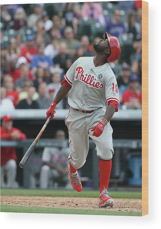Tony Gwynn Jr. Wood Print featuring the photograph Philadelphia Phillies V Colorado Rockies by Doug Pensinger
