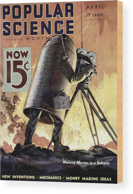 Magazine Cover Wood Print featuring the photograph Popular Science Magazine Covers by Popular Science