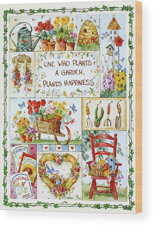 Friends Are Flowers In Life's Garden Wood Print featuring the painting 3200 Friends Are Flowers In Life's Garden by Barbara Mock