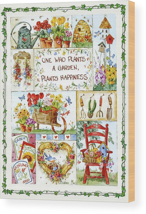 Plant Happiness Wood Print featuring the painting 3441 Plant Happiness by Barbara Mock