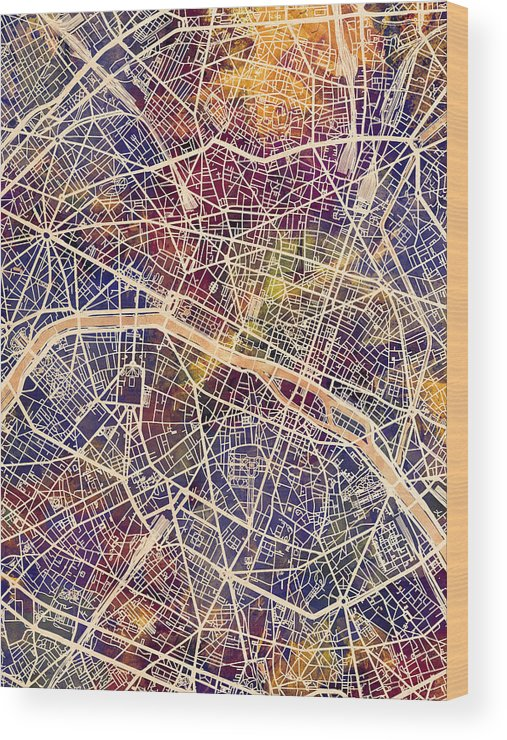 Paris Wood Print featuring the digital art Paris France City Map by Michael Tompsett