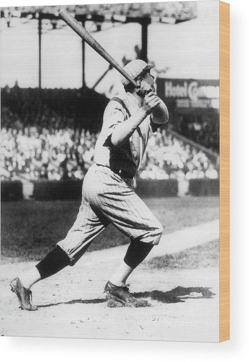American League Baseball Wood Print featuring the photograph Babe Ruth 1921 by Transcendental Graphics