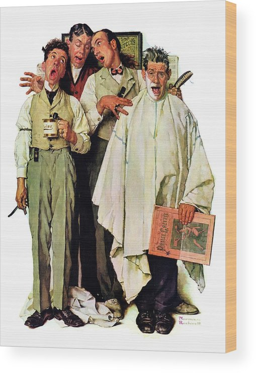 Barbers Wood Print featuring the drawing Barbershop Quartet by Norman Rockwell