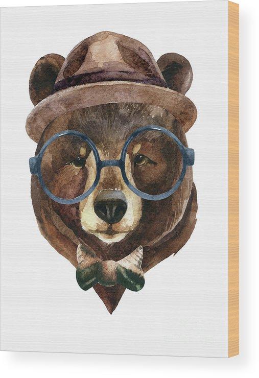 Panda Wood Print featuring the digital art Bear Head Watercolor by Tanya Syrytsyna