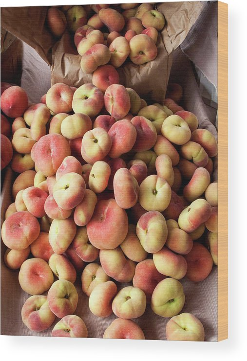 Retail Wood Print featuring the photograph Box Of Donut Peaches At A Farmers Market by Bill Boch