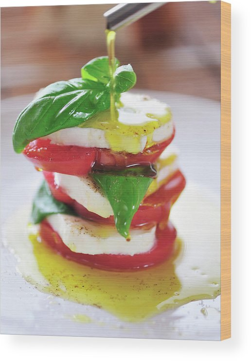 Caprese Salad Wood Print featuring the photograph Caprese by Tanya f