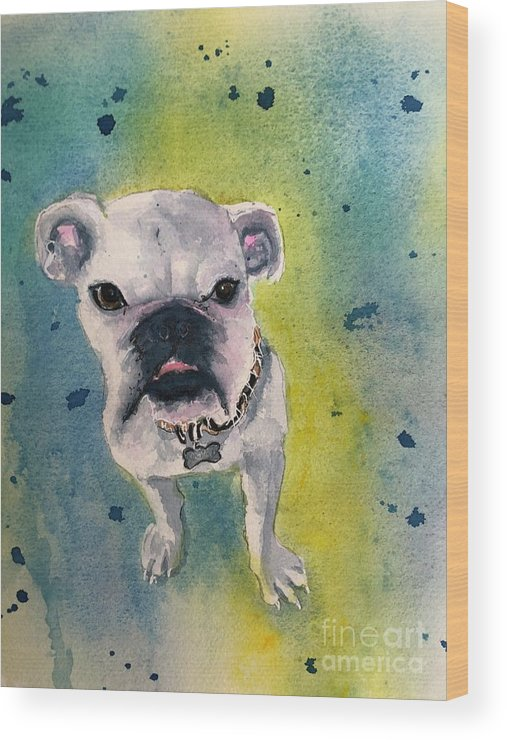 English Bulldog Wood Print featuring the painting Captain by Midge Pippel